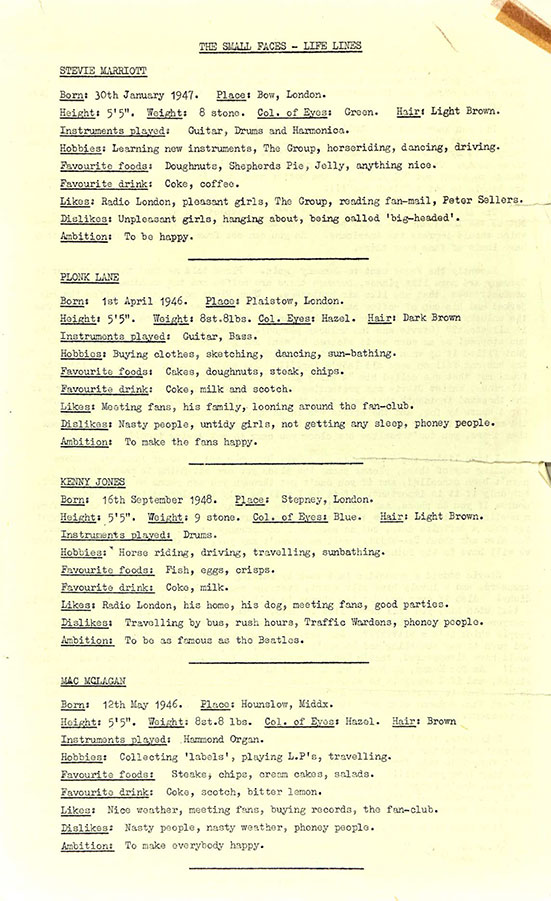 The Small Faces Official Fan Club Newsletter Life Lines